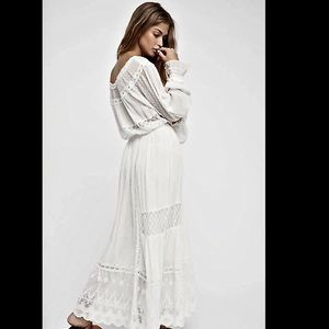 Free People Mixed Lace Off / On Shoulder  Dress S